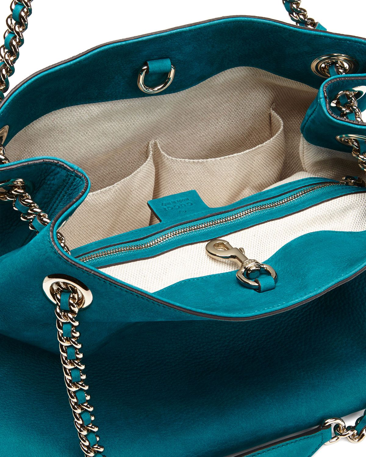 Soho Nubuck Leather Shoulder Bag, Turquoise