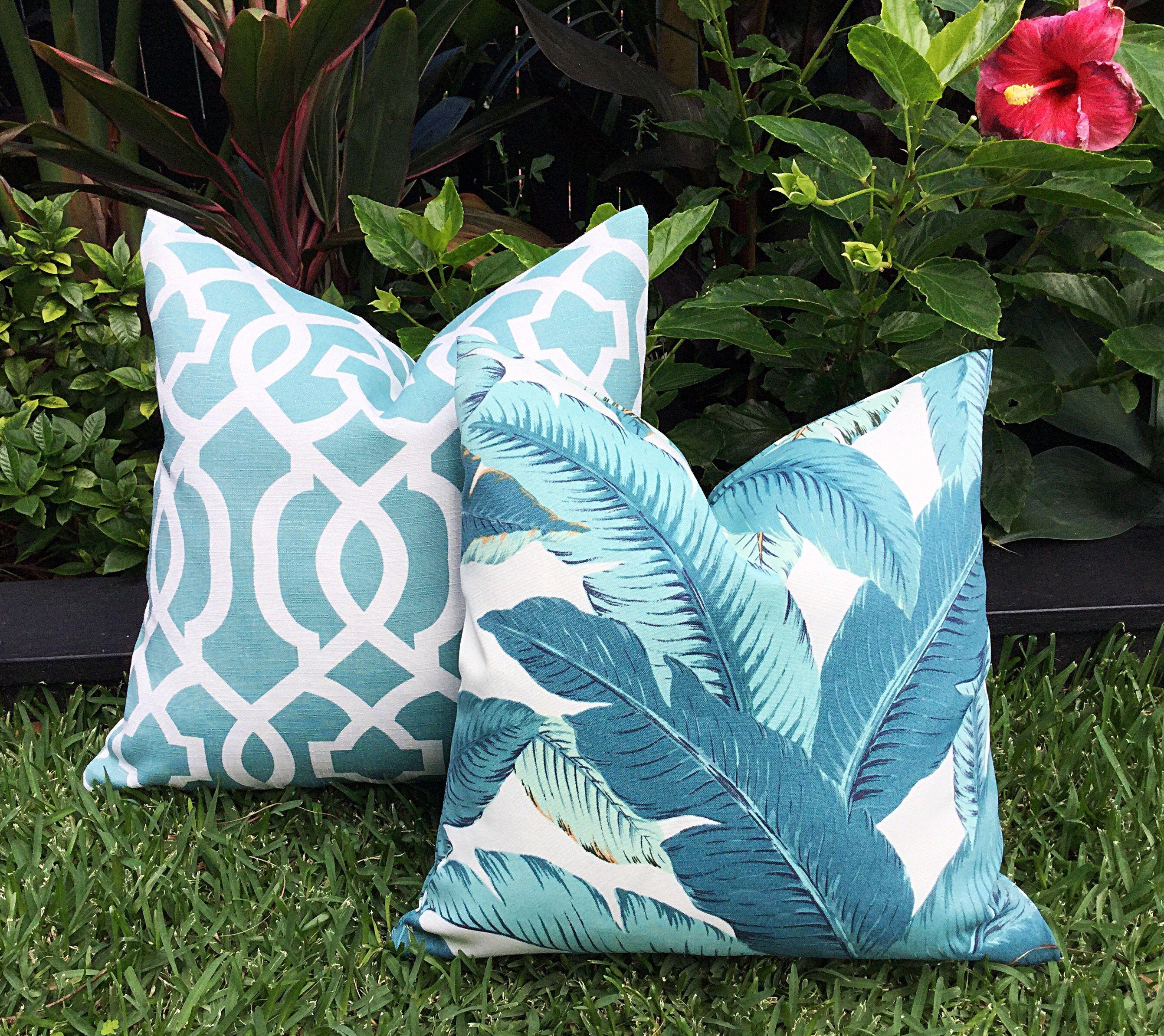 palm leaf cushions teal banana leaf