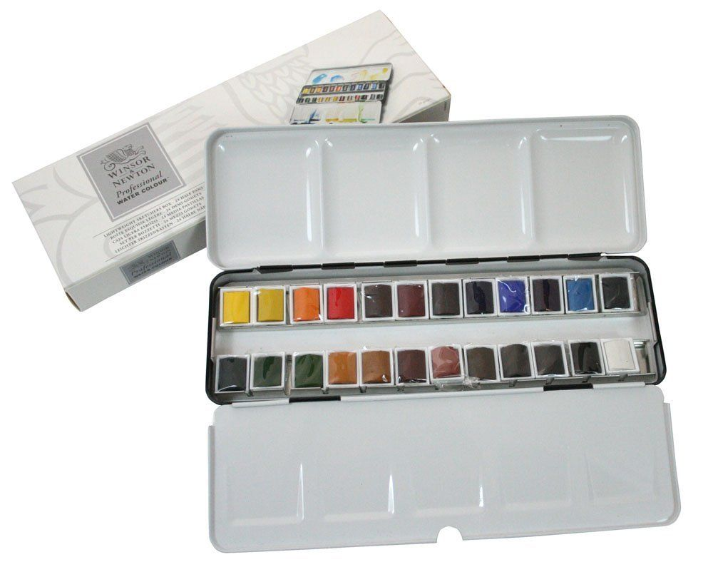 Winsor Newton Water Color Half Pan 24 Color Metal Box Set