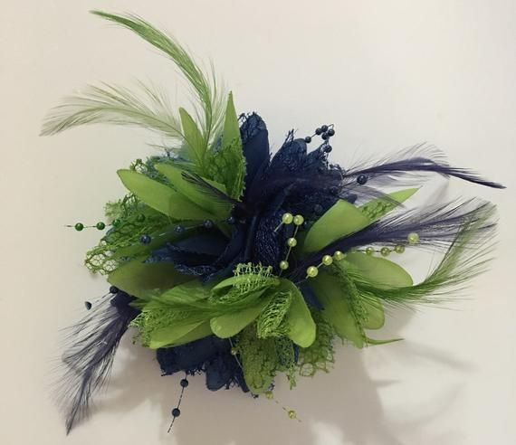 Caprilite Navy Blue and Lime Green Fascinator Headband on Clip Corsage Flower