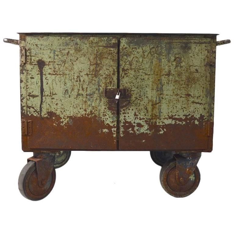 two door industrial cart on wheels from a unique collection of antique and modern carts
