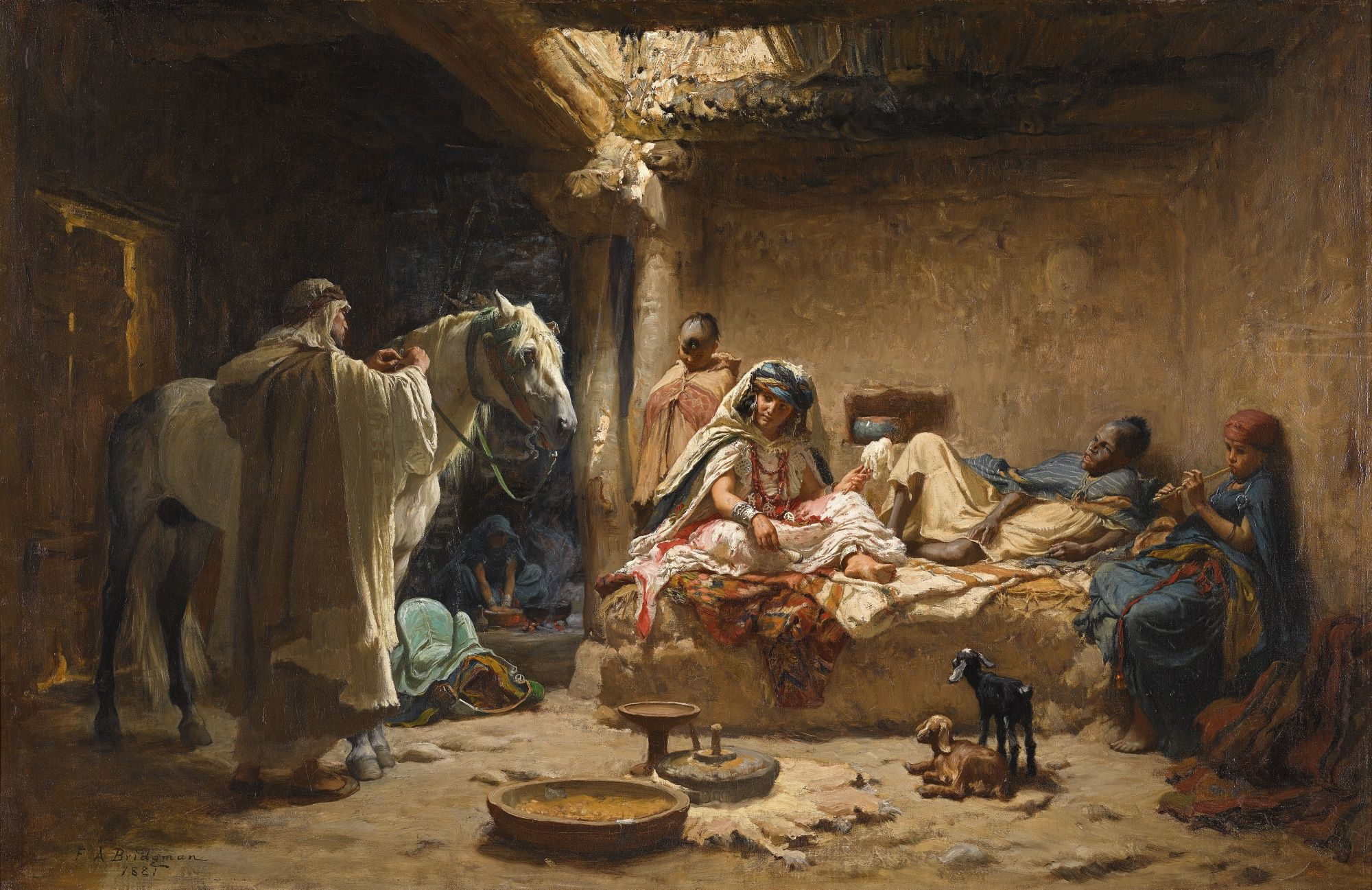 BY THE CITY GATE ARAB HORSES ORIENTALIST PAINTING BY FREDERICK BRIDGMAN REPRO