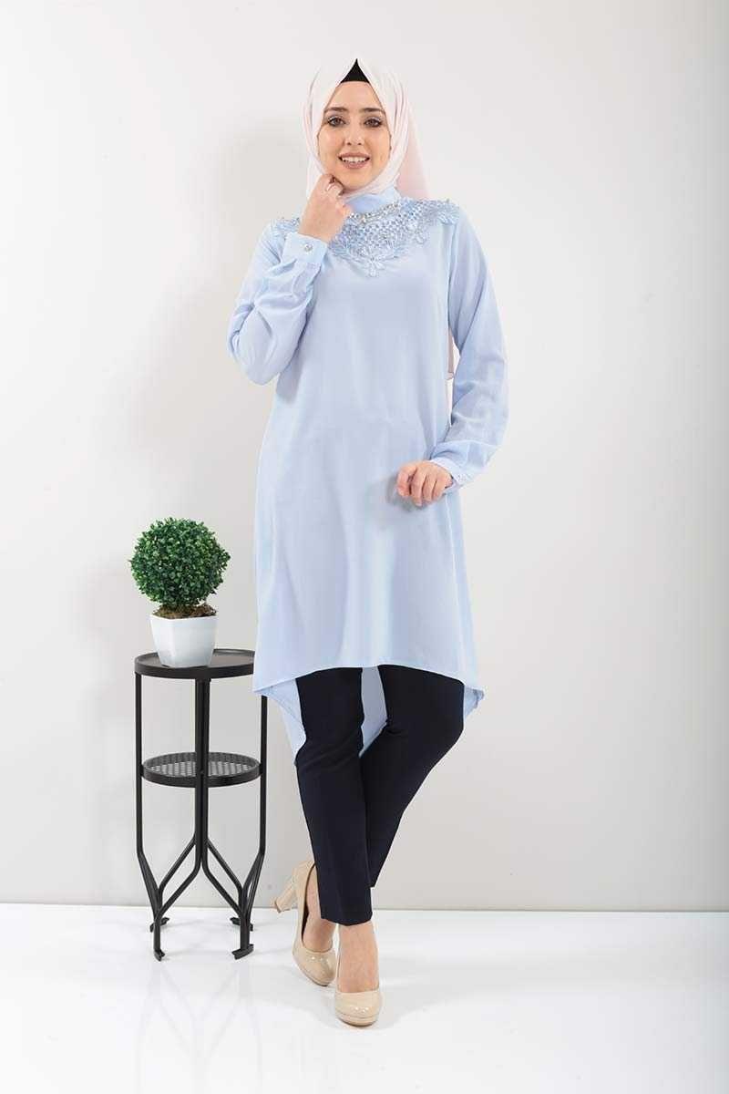 Tesettur Dunyasi Dantelli Tunik Modelleri Moda Tesettur Giyim 2020 Tunik Bebe Moda