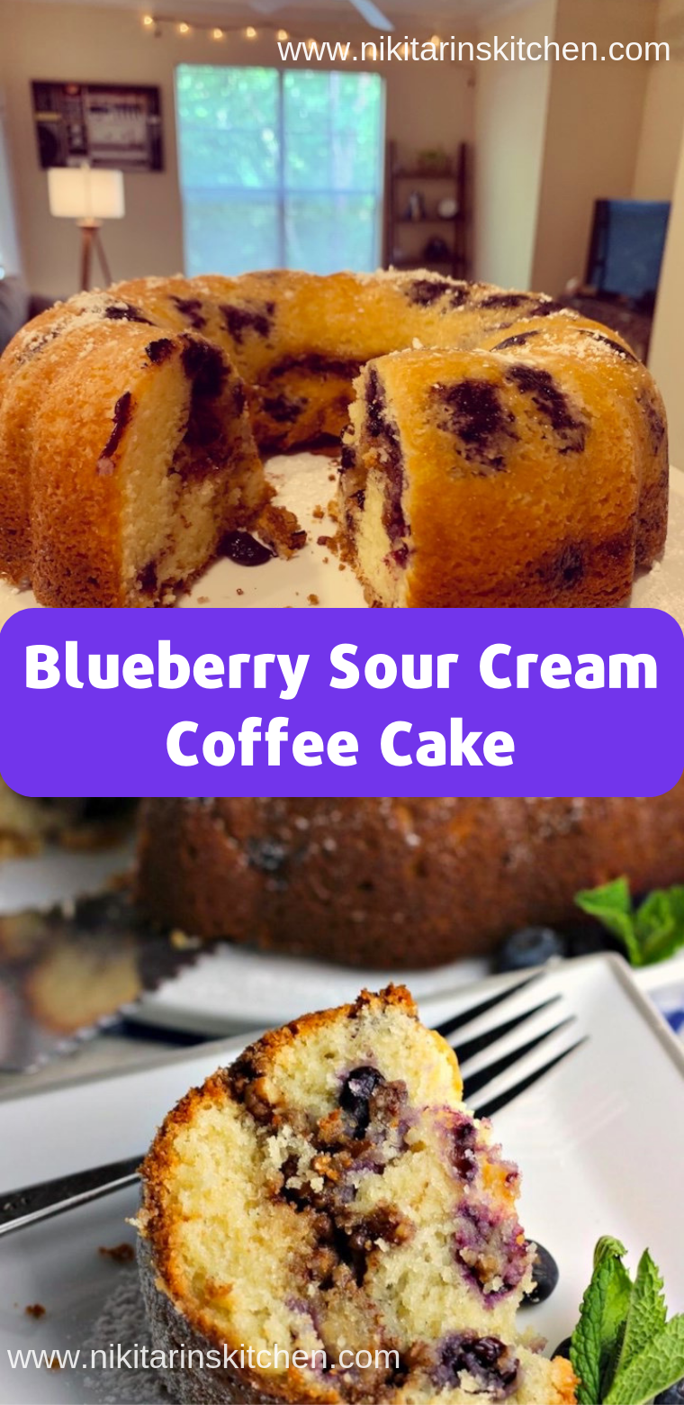 Blueberry Sour Cream Coffee Cake Desserts Cakes You Go To The Kitchen With Enthusiasm Each T In 2020 Sour Cream Coffee Cake Coffee Cake Recipes Coffee Cake