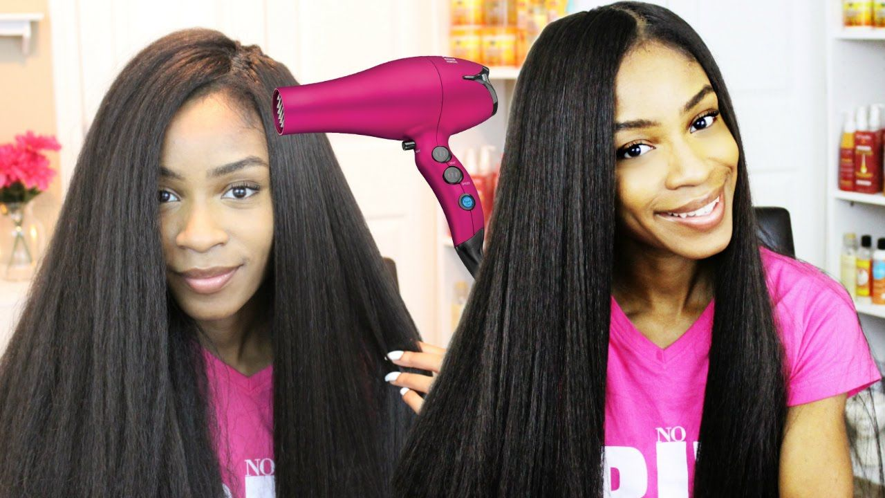 How To Blow Dry Crochet Braid Wigs Straight Kanekalon Hair Hair
