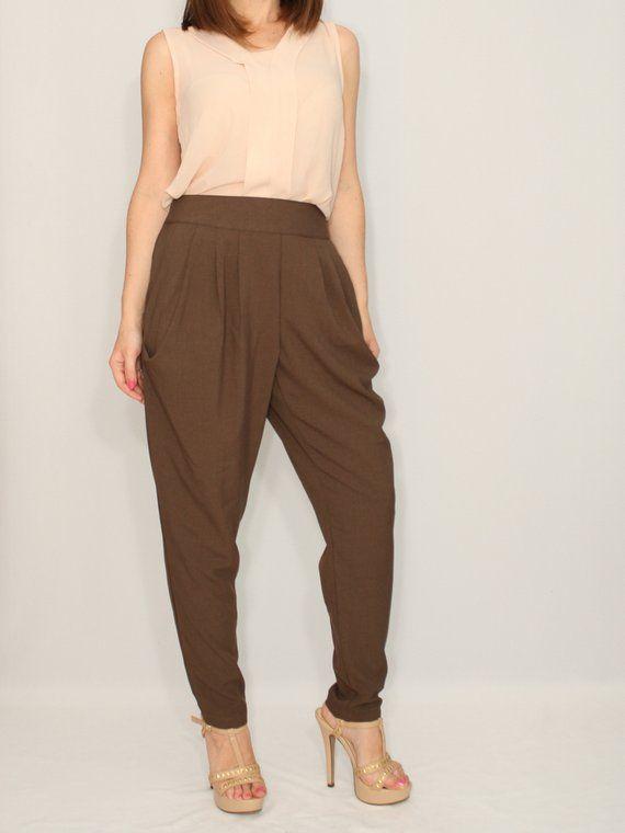 3c632a5fee832 Size Small - Last size - Harem pants Women pants Dark brown pants ...