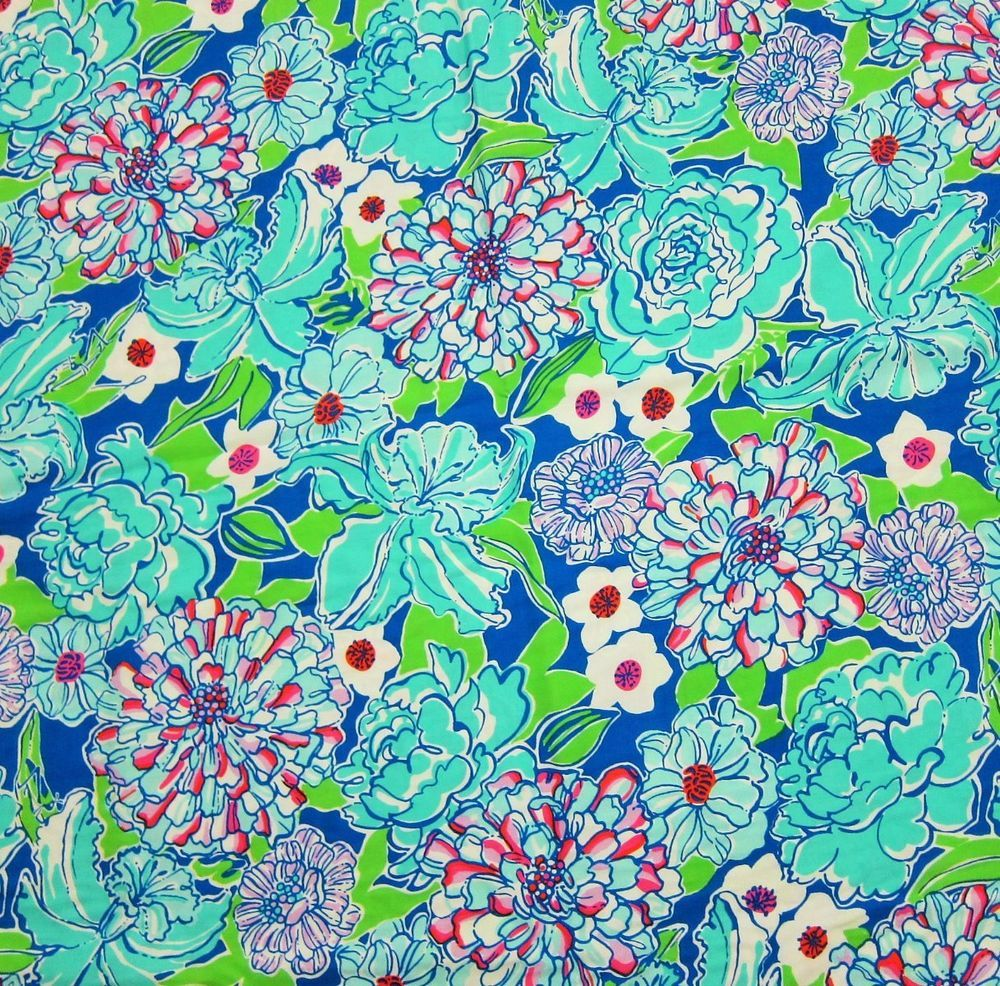 New Lilly Pulitzer Cotton Fabric Worth Blue MAY FLOWER 1