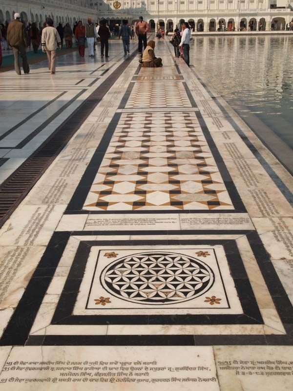Harmandir Sahib, Golden Temple. The (rebuilt) marble walkway | Sacred geometry architecture, Sacred geometry, Mosques architecture