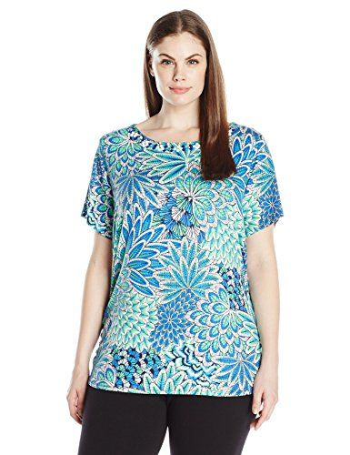 daeb7d5b8e9 Ruby Rd Womens Plus Size Embellished Boat Neck Feathered Patchwork Print  Knit Top Spearmint Multi 2X