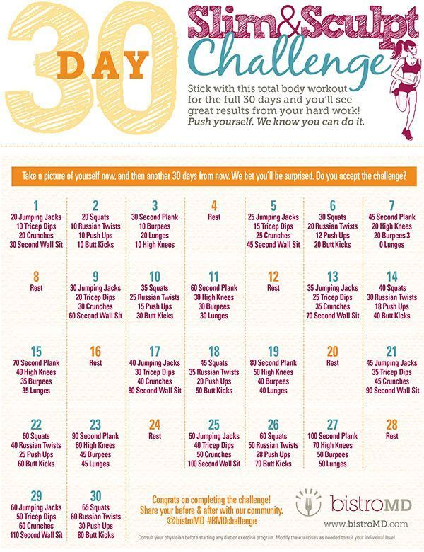 30 Tage Slim und Sculpt Fitness Challenge - H Fitness -  coole 30 Tage Slim und Sculpt Fitness Chall...