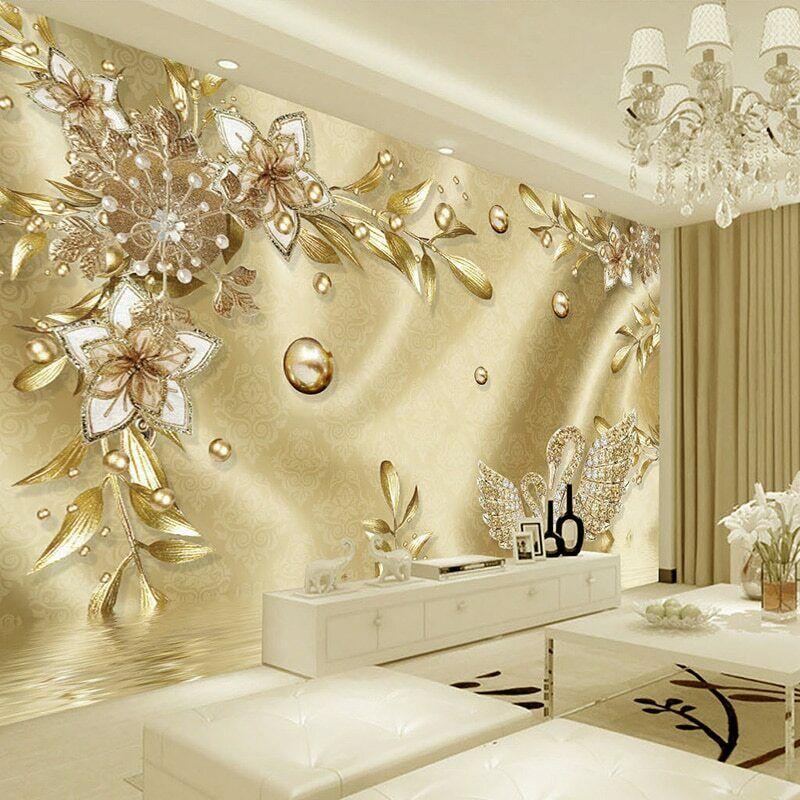 Photo Wallpaper 3d Stereo Golden Flower Jewelry European Luxury Living Room Tv Price 13 99 Wall Art Wallpaper Mural Wallpaper Wall Decals Living Room