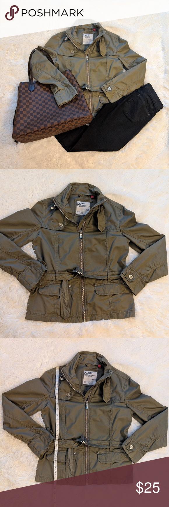 Esprit Olive Jacket With Removable Belt Olive Jacket Jackets Olive Green Jacket [ 1740 x 580 Pixel ]