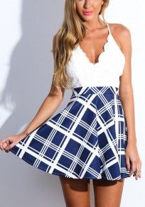 White Patchwork Blue Plaid Condole Belt Cut Out Mini Dress