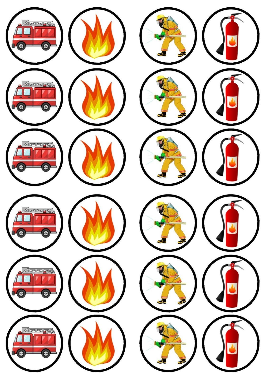 Details About Fireman Fire Engine Edible Premium Sweetened Wafer Paper Cupcake Toppers