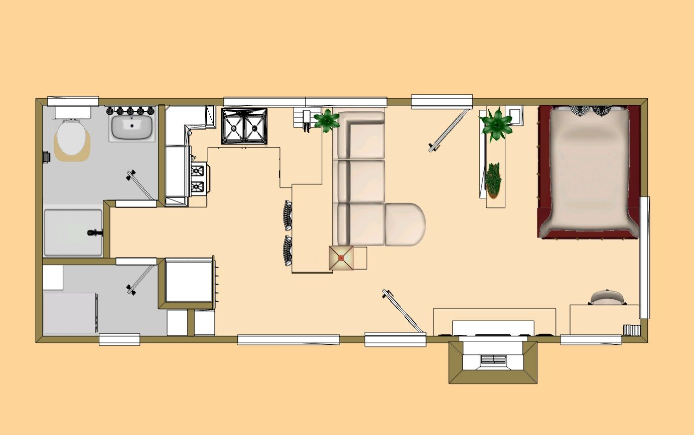 Floor plan of the 360 sq ft shy lightning cozy 39 s 300 for Small square house floor plans