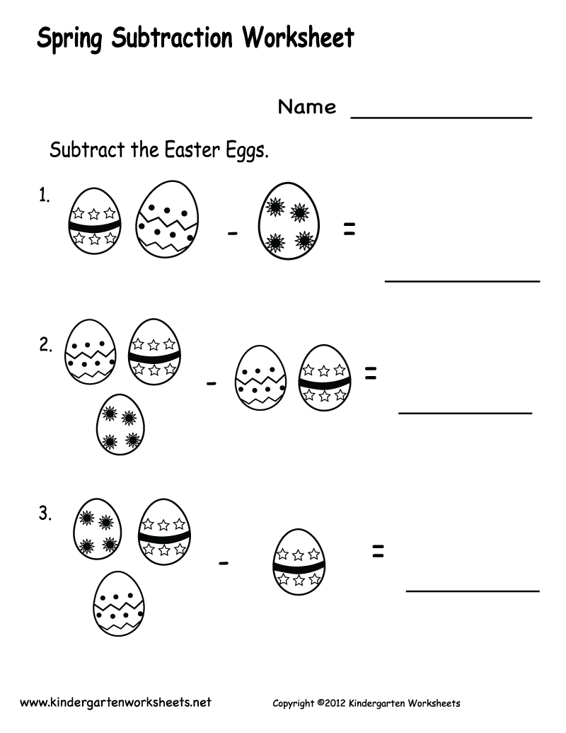 math worksheet : free printable worksheets for preschool  free printable spring  : Simple Subtraction Worksheets For Kindergarten