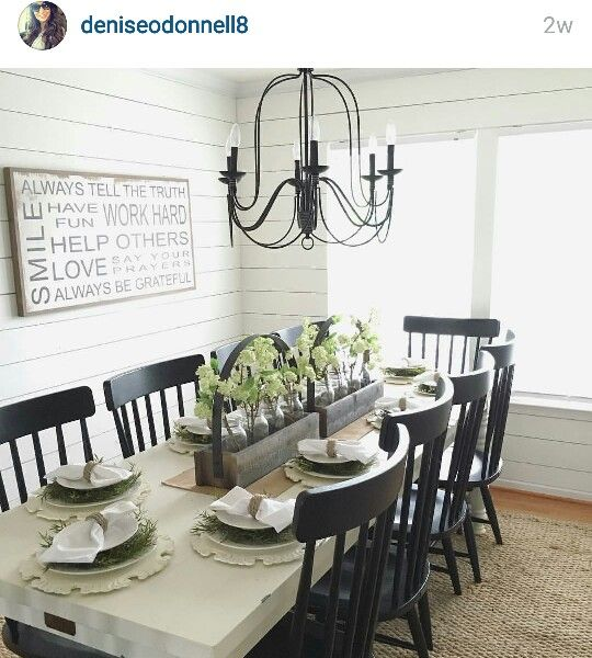 White Farm Table And Black Chairs