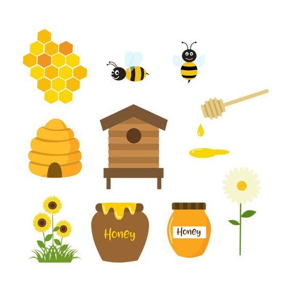 Honey Bees Clipart Honeycomb Bees Hive Bee Hive Etsy In 2021 Bee Clipart Honey Illustration Cute Wallpapers