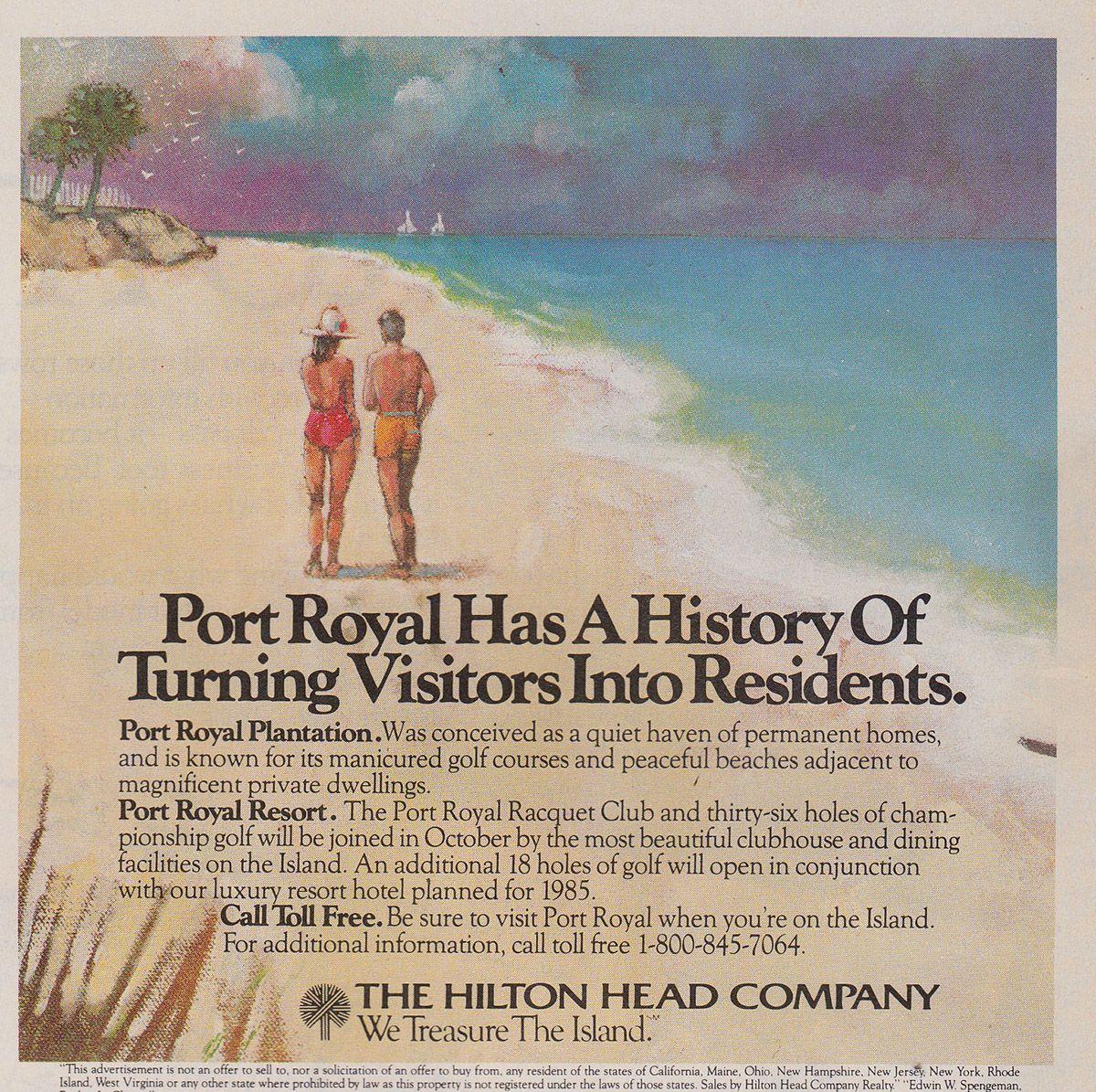 Port Royal Has a History Vintage Print Ad 1983 Hilton Head