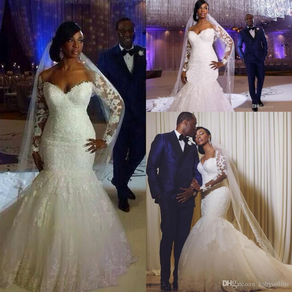 Plus size african wedding dresses  South Africa Long Sleeves Lace Mermaid Wedding Dresses Sheer
