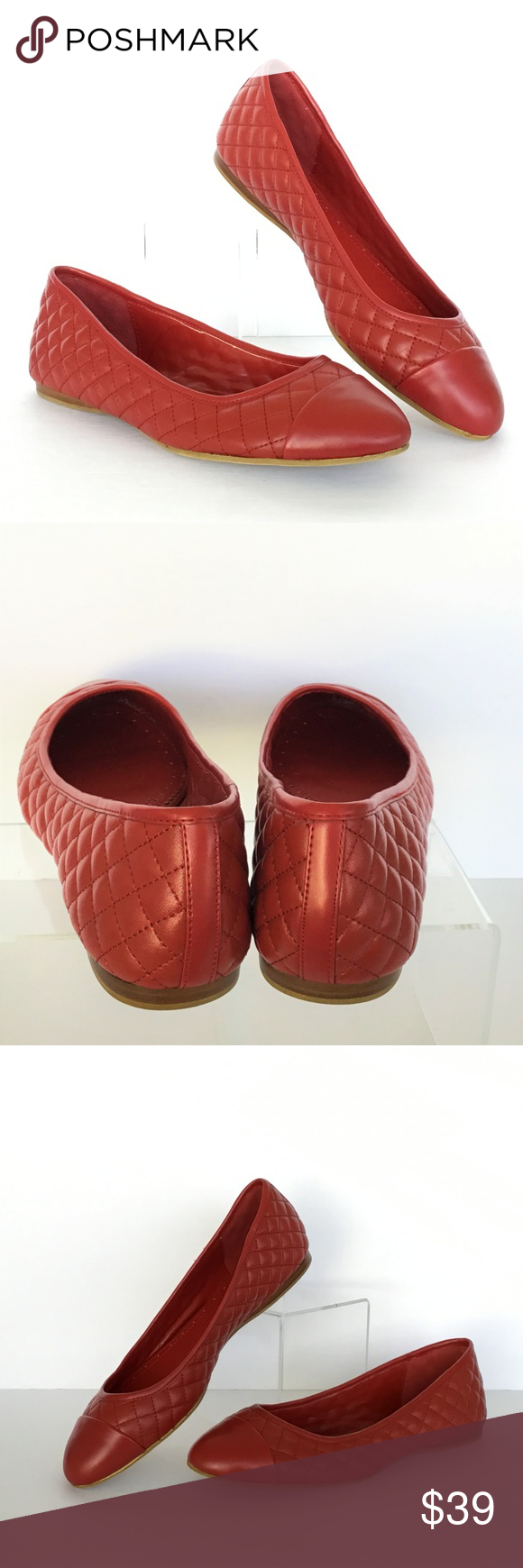 0b880193f5e Brooks Brothers 346 Ballet Flat Quilt Red Leather Brooks Brothers 346  Ballet Flat Womens Size 8.5 M Shoes Quilted Red Leather New