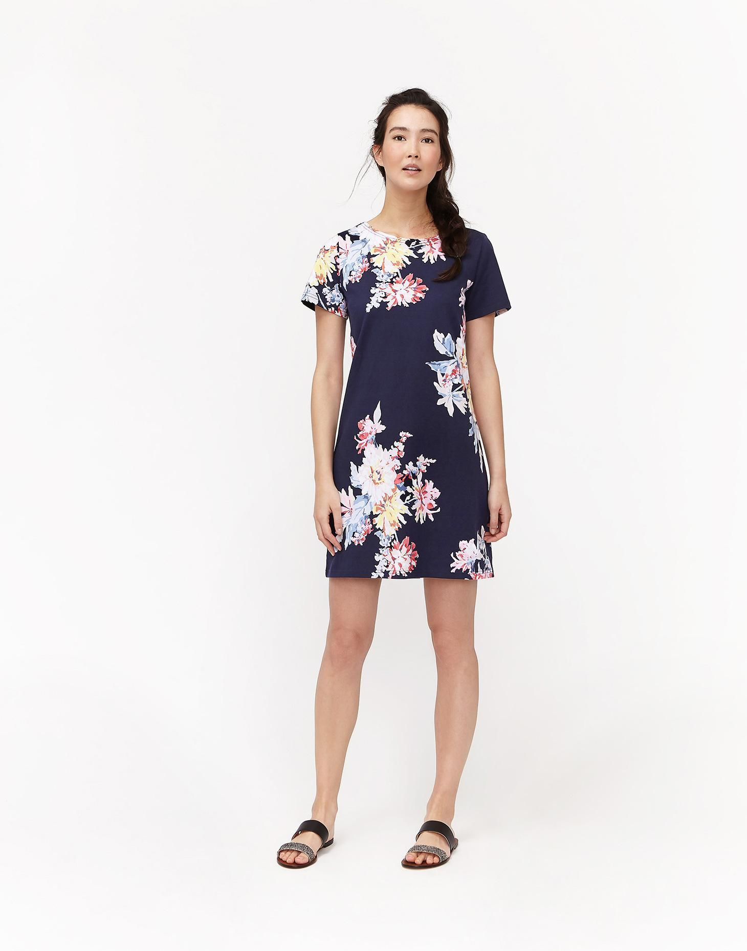 b5739ad60d2 Riviera printed Navy Whitstable Floral Jersey Dress | Joules US ...