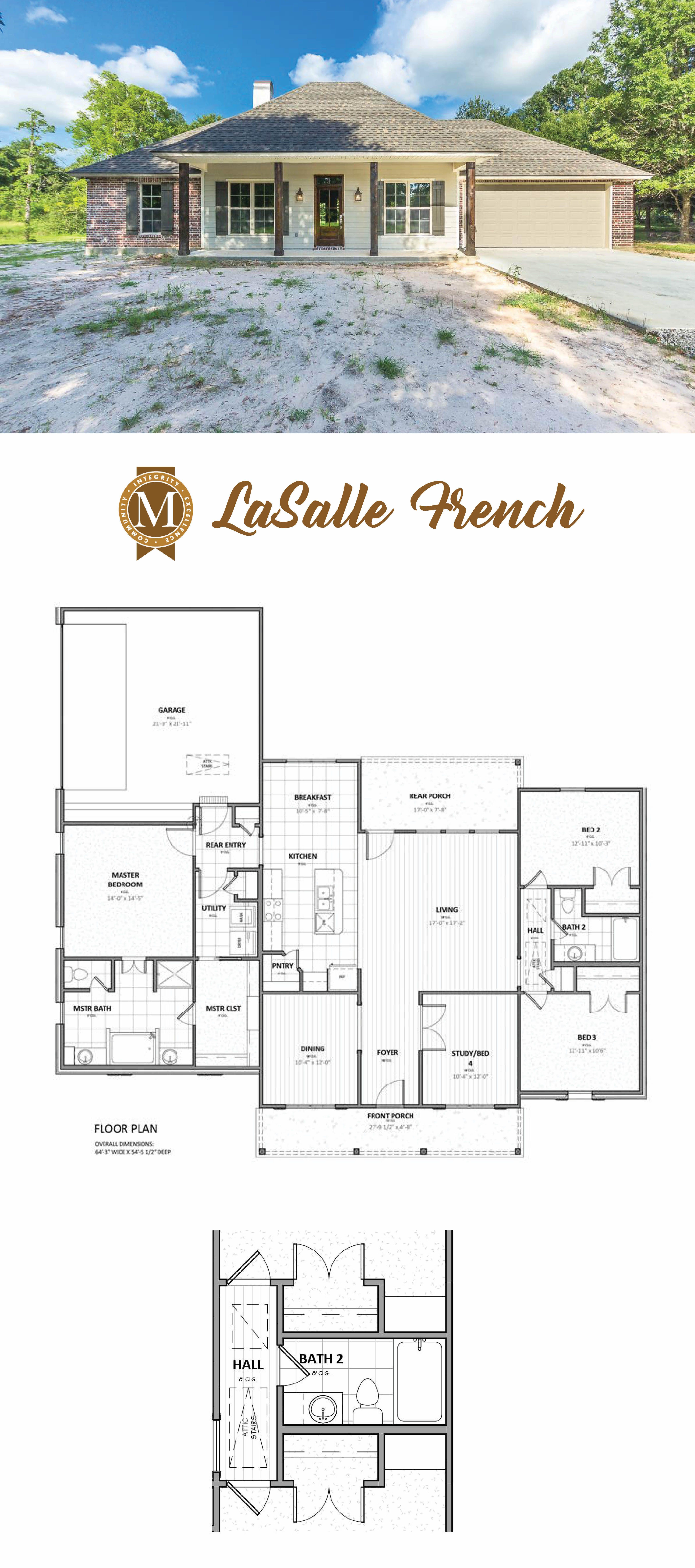 Lasalle French Floor Plan Living Sq Ft 2 031 Bedrooms 3 Baths 2 Lake Charles Lafayette Baton Rouge Louis House Plans Southern House Plans Modern House Plans