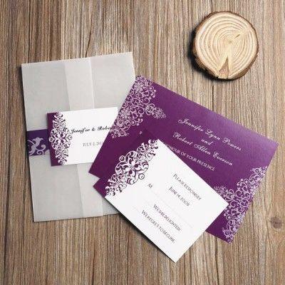 Purple Vintage Damask Printed Cheap Pocket Wedding Invitations EWPI069