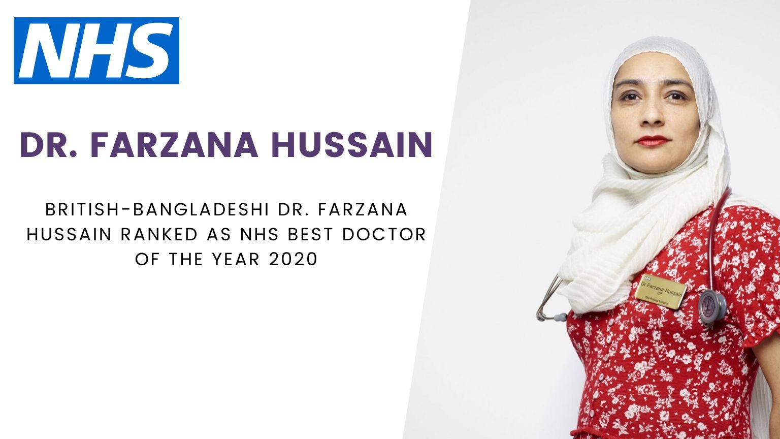 British-Bangladeshi Dr. Farzana Hussain Ranked as NHS Best Doctor of the Year 2020