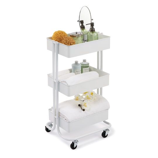Bedroom Art Supplies: White Lexington 3-Tier Rolling Cart By Recollections