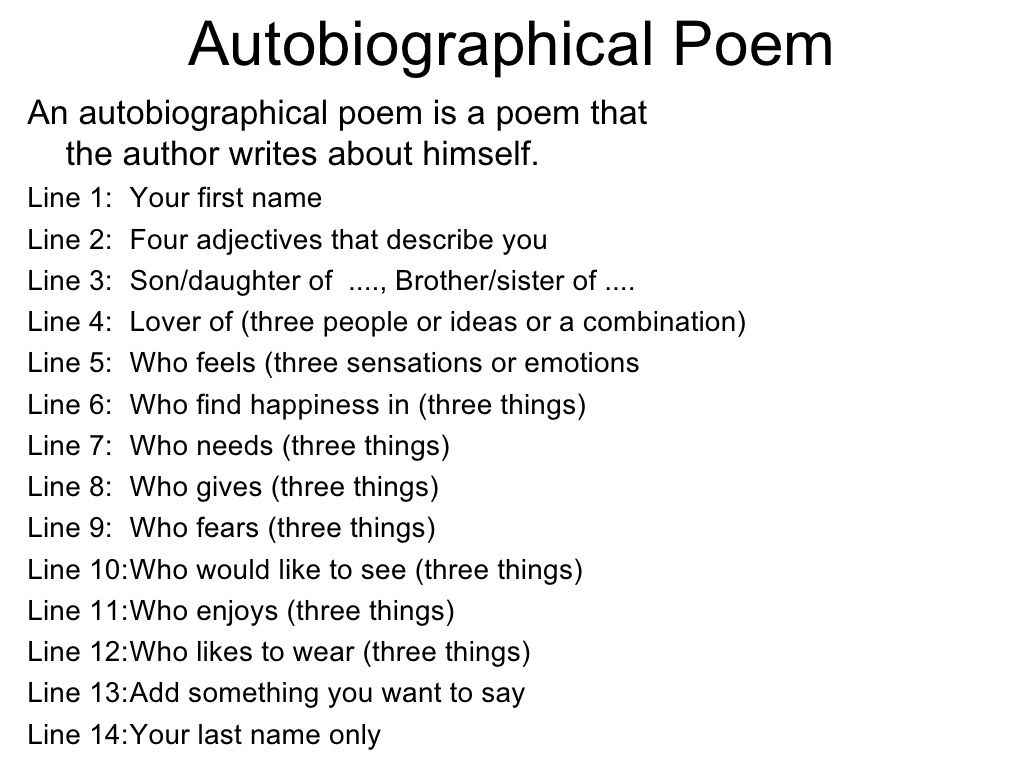 Example Of A Student Autobiographical Poem With Rules by Mandee ...