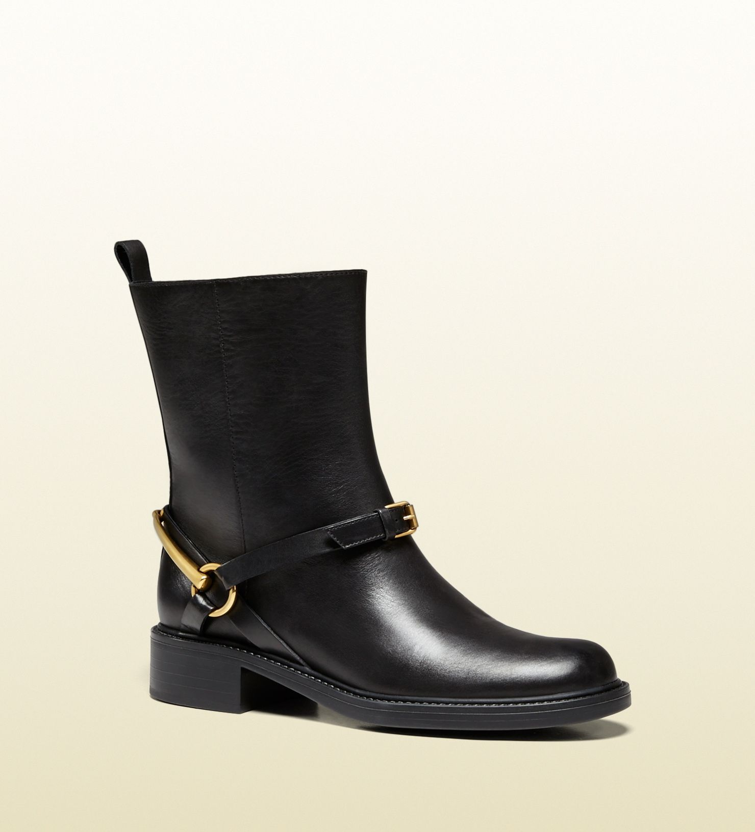 2dfe4113833 Gucci - 353792 A3N00 1000 - tess leather horsebit ankle boot - black leather*Made  in Italy horsebit detail with buckle pull on metal gucci logo under the ...