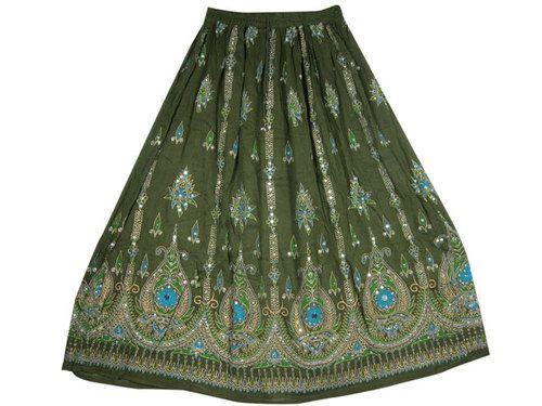 """New Boho Women Skirt Green Sequin Skirts Designer Gypsy Skirt Long Skirt 36""""   eBay $24.99"""