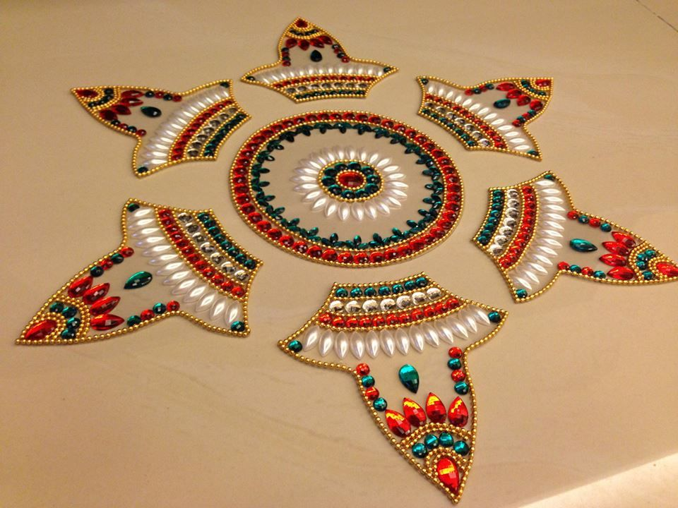 rangolidecorativecraftdesignermoti chakrapurplehandmadekundan - Decorative Crafts