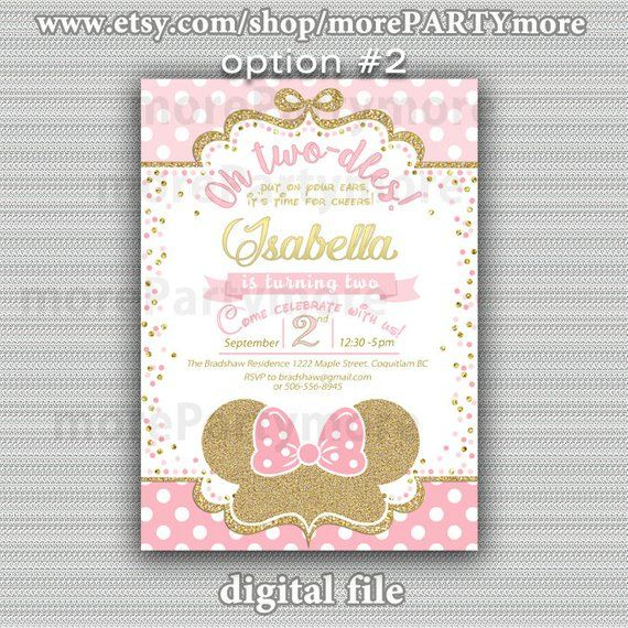 Pink and Gold Minnie Mouse Birthday Party Invitation, First Birthday, oh twodles, Gold Glitter, Prin