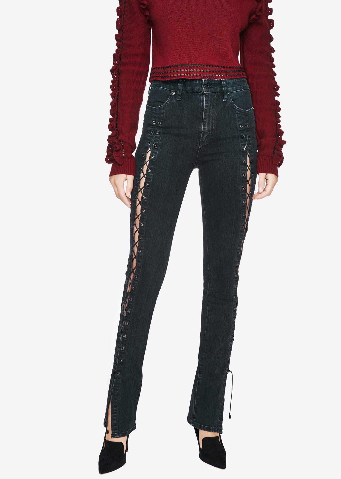 9ec92e5fcc2 Lace-Up Stove Pipe Jeans