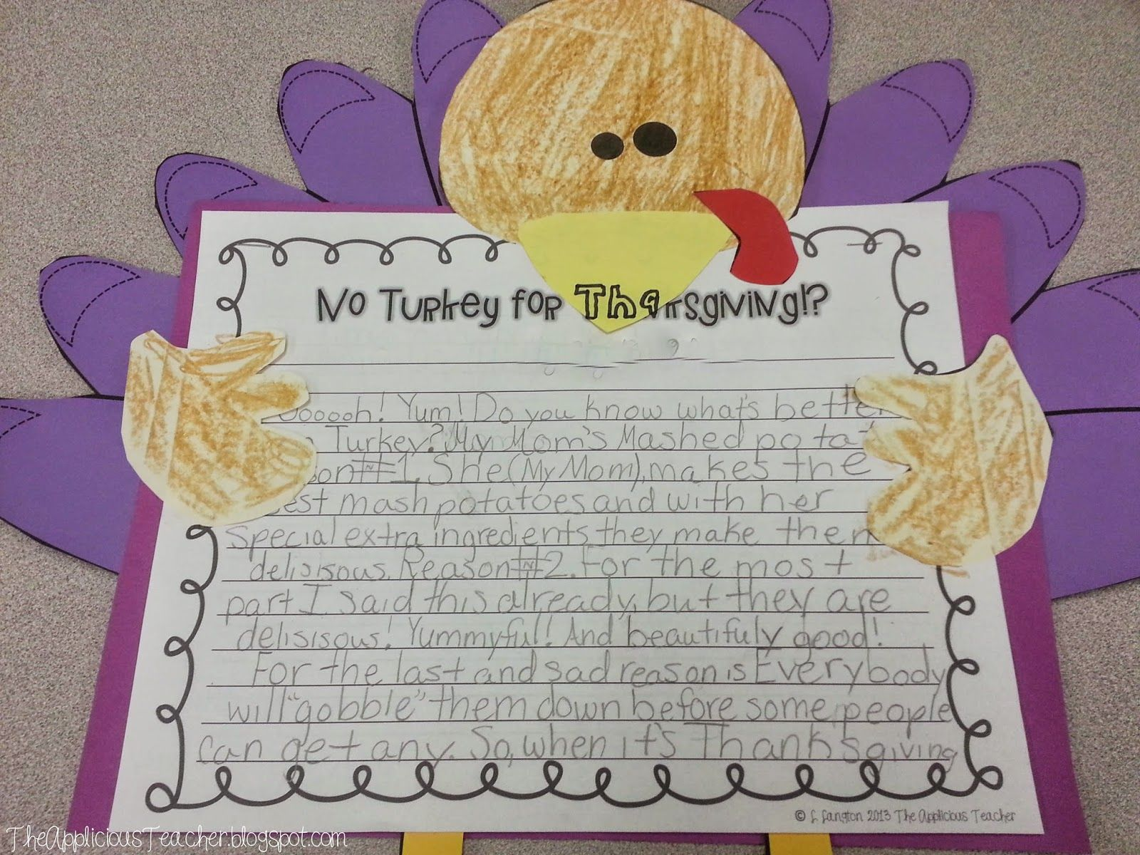 The First Thanksgiving And Turkey Writing