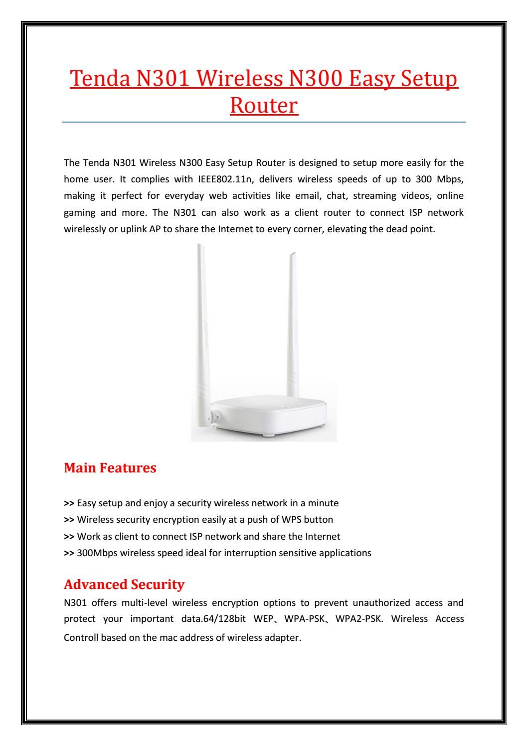 Tenda N301 Wireless Router Wireless Router