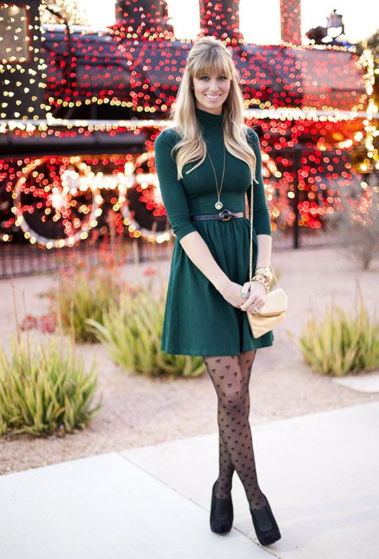 Great winter outfit. I love the girly tights. Easy outfit to recreate from your own closet.