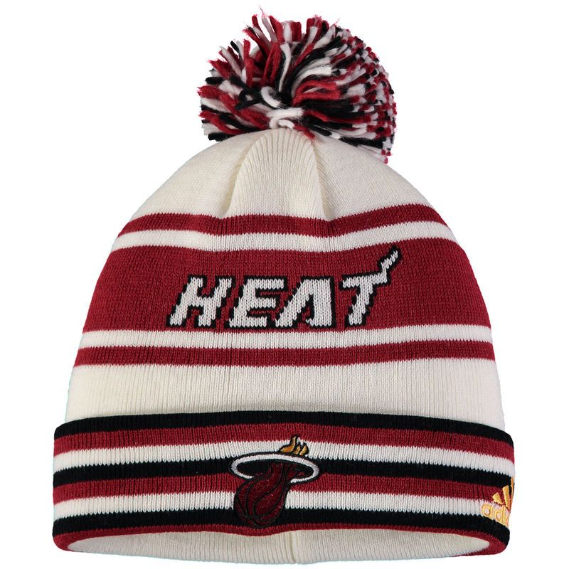 437842d36e46e ... buy miami heat adidas youth cuffed knit hat with pom red bb32d c7f02