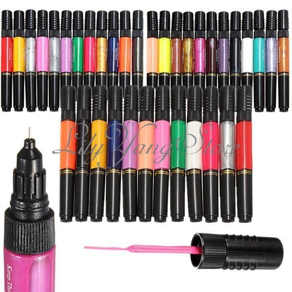 12/24/36/48 Colors Nail Art Tips Varnish Polish Liner Brush Painting ...
