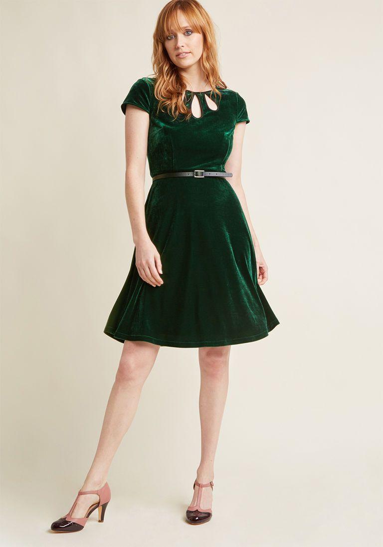8562c0686b Tri-Keyhole A-Line Dress in Emerald
