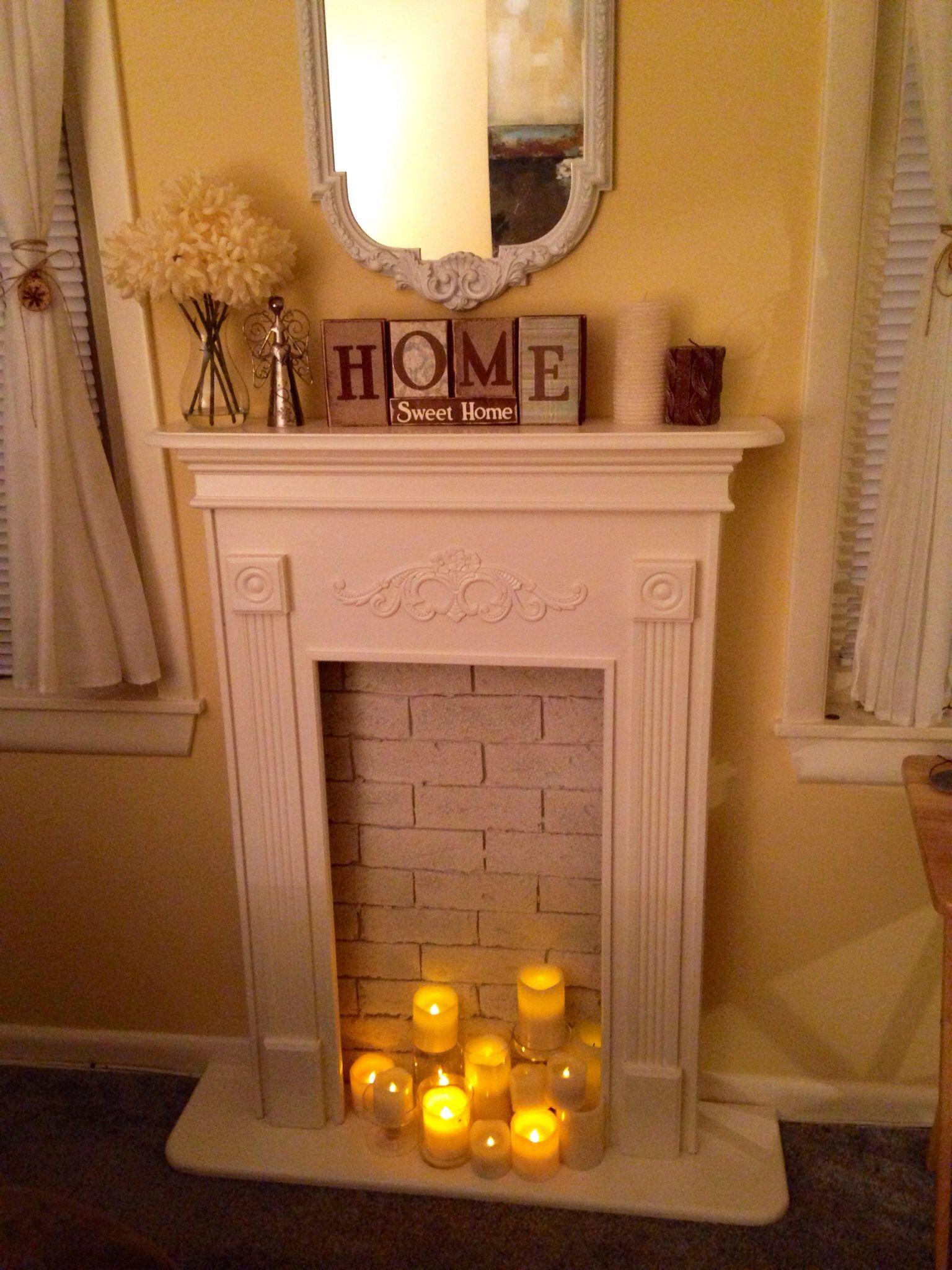 DIY faux fireplace Faux fireplace, Fake fireplace, Decor