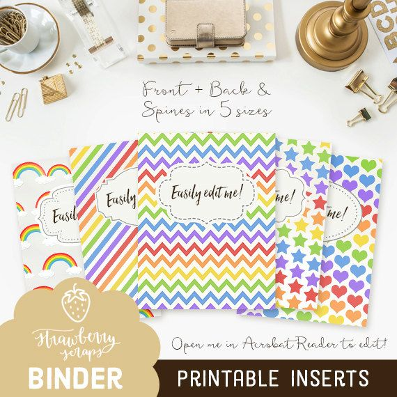 binder cover printable rainbows 5x set covers spines binder insert