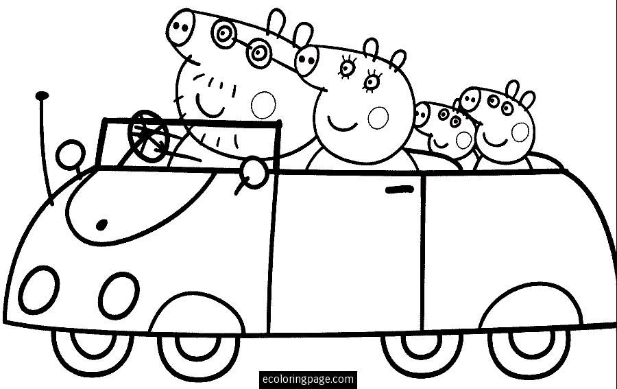 peppa pig and family driving a car coloring page for kids printable cartoons