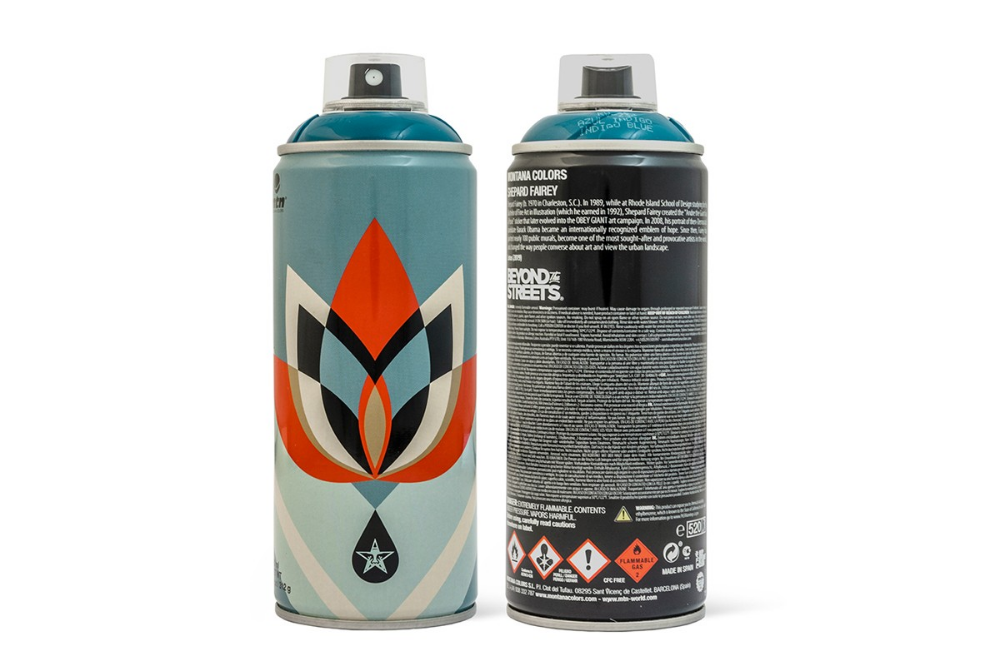 Shepard Fairey Designs 3 Montana Spray Paint Cans With Beyond The Streets Spray Paint Cans Paint Cans Paint Brands