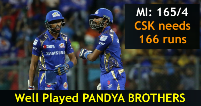 Well Played Pandya Brothers Great Knock By Ishan Kishan And Suryakumar Yadav Csk Needs 166 Runs To Win Mivscsk Cskvsmi Ipl Facebook C Running I Pl Cricket