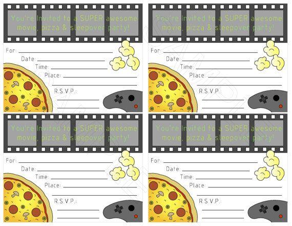 Boys Movie Pizza Sleepover Party Printable By Idandegocreations