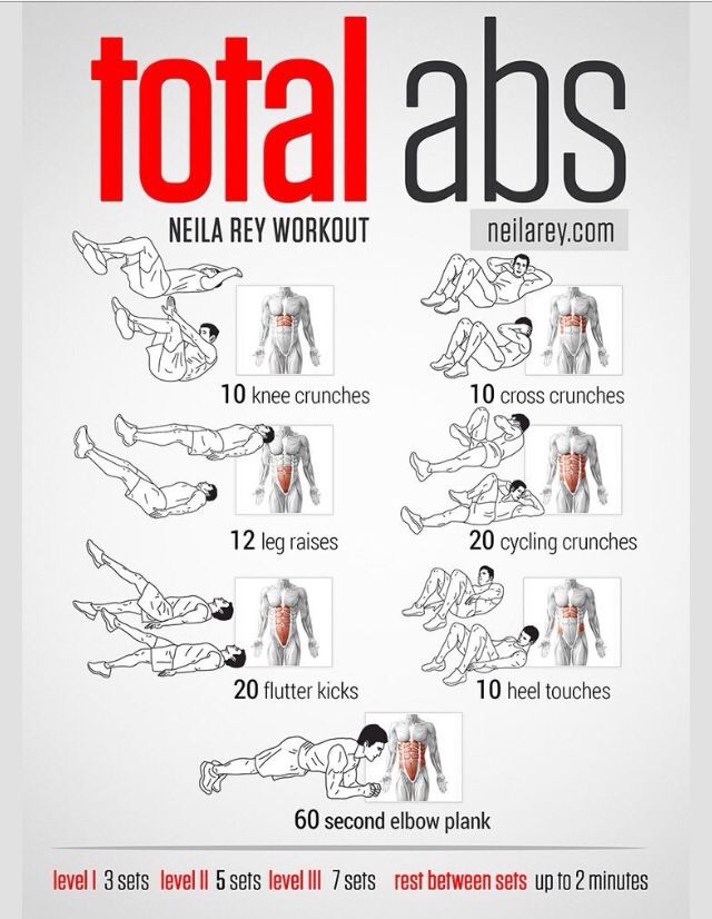 ..these ab exercises! ..plus add 15 minutes of cardio before and after sets, and a 15 minute cardio in between sets for a 'killer' work-out!..