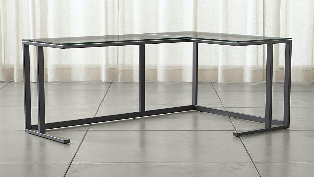 Pilsen Graphite Glass Corner Desk Reviews Crate And Barrel Glass Corner Desk Cheap Office Furniture Modern Home Office Desk